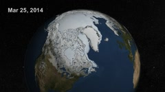 Extent Of Arctic Sea Ice 2014 (With Dates) Stock Footage