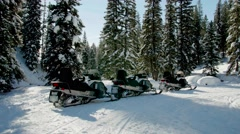 Snowmobiles isolated in the woods Stock Footage