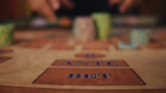 Casino Magic - the player receives his winnings in a puff of smoke on the table Stock Footage
