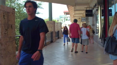 People walking at Merrick Park shopping mall Stock Footage