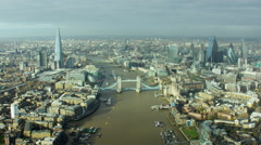 Aerial View of London Tower Bridge skyline UK Stock Footage