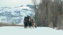 Horse and carriage travel through snow by mountains Stock Footage