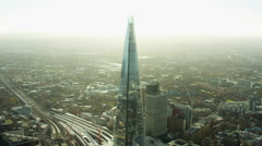 Aerial view of The Shard Tower London Cityscape UK - stock footage