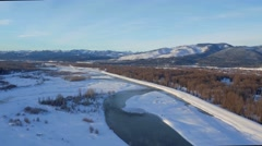 Drone view of gorgeous winter landscape, mountains and streams 4 Stock Footage