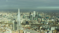 Aerial view of London's financial and business sector UK - stock footage