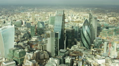 Aerial view of London's financial and business sector UK Stock Footage