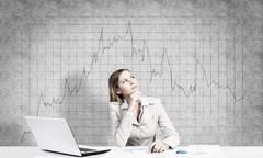 Preparing her financial report Stock Photos