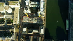 Aerial vertical view London City Skyscrapers UK Stock Footage