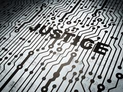 Law concept: circuit board with Justice - stock illustration