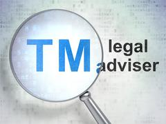 Law concept: Trademark and Legal Adviser with optical glass - stock illustration