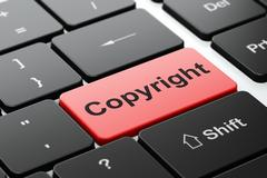 Law concept: Copyright on computer keyboard background - stock illustration