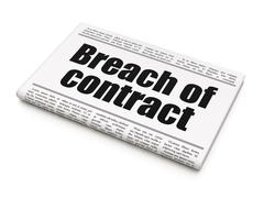 Law concept: newspaper headline Breach Of Contract - stock illustration