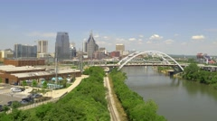 Beautiful Aerial of Nashville's Cumberland River 4k Stock Footage
