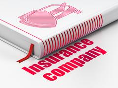 Insurance concept: book Car And Shield, Insurance Company on white background - stock illustration