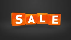 Looping flying orange cubes with text SALE - stock footage