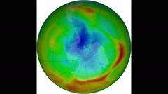 Antarctic Ozone Hole, 1979 to 2015 Stock Footage
