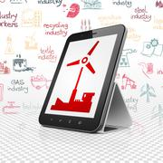Industry concept: Tablet Computer with Windmill on display - stock illustration