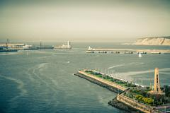 El Abra bay and Getxo pier and seafront, Spain - stock photo