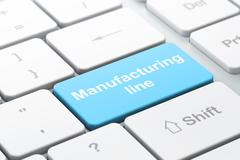 Manufacuring concept: Manufacturing Line on computer keyboard background - stock illustration