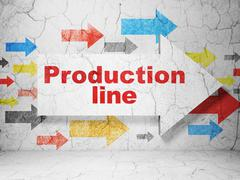 Industry concept: arrow with Production Line on grunge wall background Stock Illustration