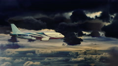 The plane is flying in the dramatic sky. Storm and lighting inside the clouds Stock Footage