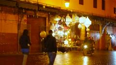 Jemaa el fna marrakech morocco market at night Stock Footage