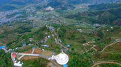 Flight over buddhist stupa aerial 4k video. Pokhara Valley Phewa lake Nepal Stock Footage