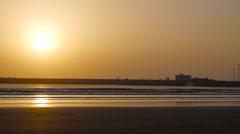 Sunset on Essaouira beach Stock Footage
