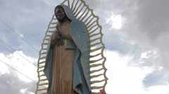 Low Angle Shot of a Statue of the Virgin of Guadalupe Stock Footage