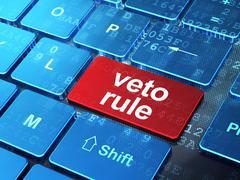 Politics concept: Veto Rule on computer keyboard background - stock illustration