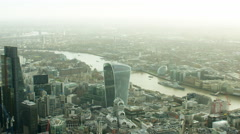 Aerial view of The Shard Tower and Tower Bridge London UK - stock footage