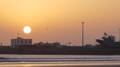 Essaouira port sunset Stock Footage