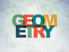 Education concept: Geometry on Digital Data Paper background Stock Illustration