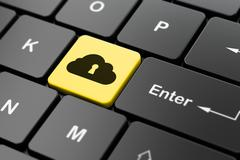 Cloud technology concept: Cloud With Keyhole on computer keyboard background - stock illustration