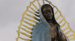 Closeup of a Statue of the Virgin Guadalupe Stock Footage