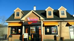 Dunkin Donuts eatery coffee shop, drive up Stock Footage
