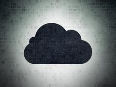 Cloud networking concept: Cloud on Digital Data Paper background Stock Illustration