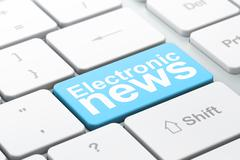News concept: Electronic News on computer keyboard background - stock illustration