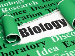 Science concept: black text Biology under the piece of  torn paper - stock illustration