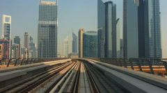 Dubai subway train driving. City time-lapse HD video. Metro rail skyscrapers Stock Footage