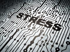 Health concept: circuit board with Stress - stock illustration