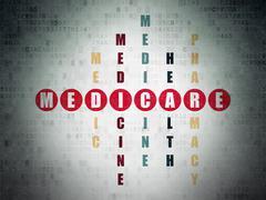 Medicine concept: Medicare in Crossword Puzzle - stock illustration