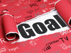 Advertising concept: black text Goal under the piece of  torn paper - stock illustration