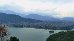 Aerial panorama Pokhara Nepal Time-lapse 4k travel video. Phewa Lake mountains. Stock Footage