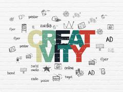 Advertising concept: Creativity on wall background - stock illustration