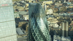 Aerial view of Gherkin skyscraper building London England Stock Footage