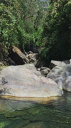 Mountain river clear water flowing Himalayas. Nature Nepal hd video background. Stock Footage