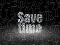 Time concept: Save Time in grunge dark room - stock illustration