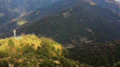 Himalayas Nepal mountain valley. Nature HD video background. Bird forest hills - stock footage