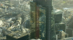 Aerial view of Gherkin building and skyscrapers in City of London UK Stock Footage